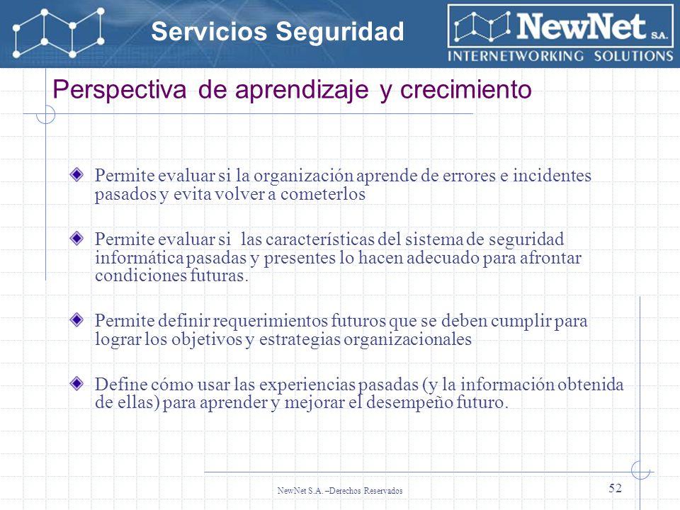 Servicios Seguridad NewNet S.A. –Derechos Reservados 52 Perspectiva de aprendizaje y crecimiento Permite evaluar si la organización aprende de errores