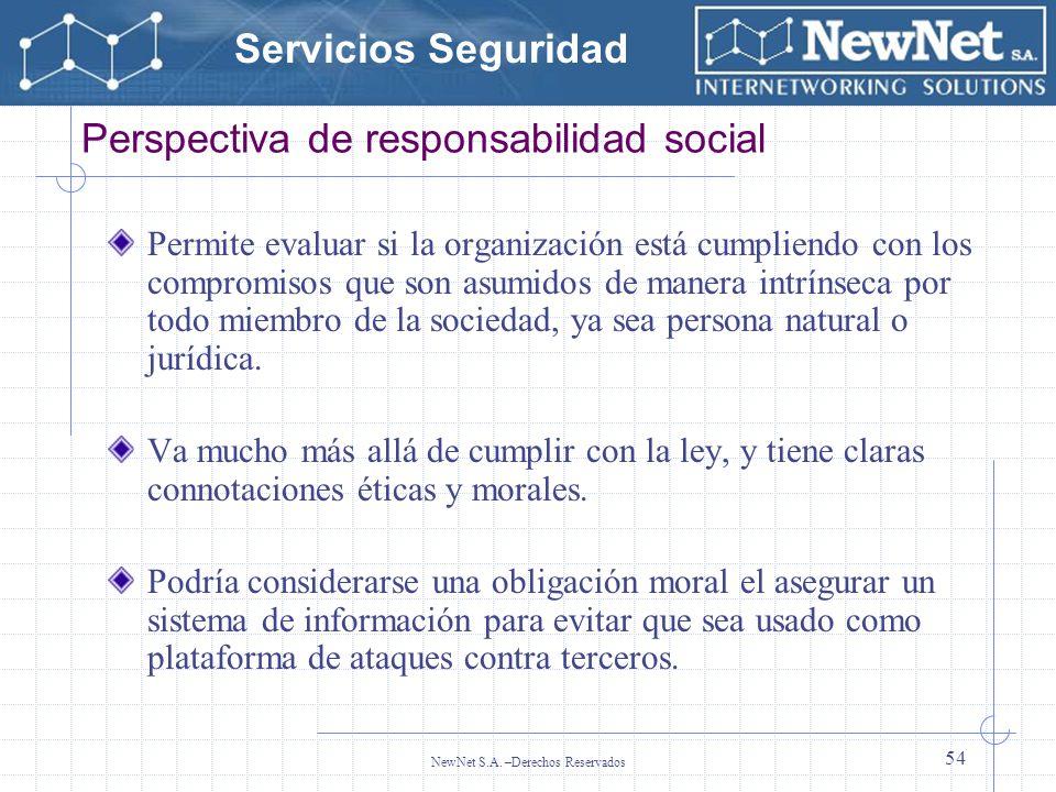 Servicios Seguridad NewNet S.A. –Derechos Reservados 54 Perspectiva de responsabilidad social Permite evaluar si la organización está cumpliendo con l