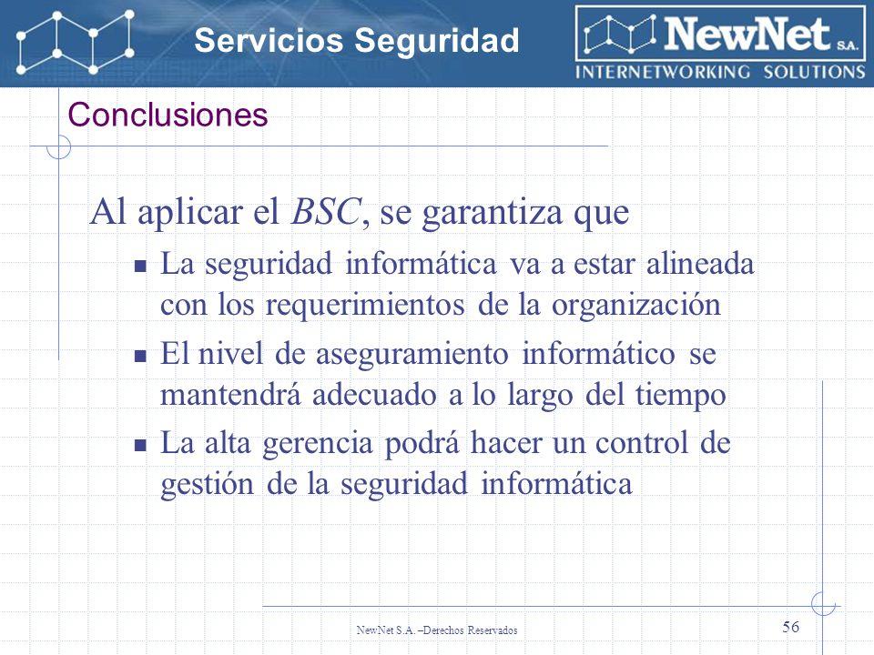 Servicios Seguridad NewNet S.A. –Derechos Reservados 56 Conclusiones Al aplicar el BSC, se garantiza que La seguridad informática va a estar alineada