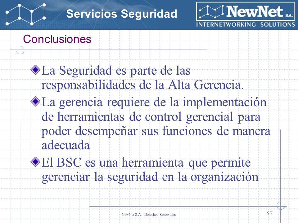Servicios Seguridad NewNet S.A. –Derechos Reservados 57 Conclusiones La Seguridad es parte de las responsabilidades de la Alta Gerencia. La gerencia r