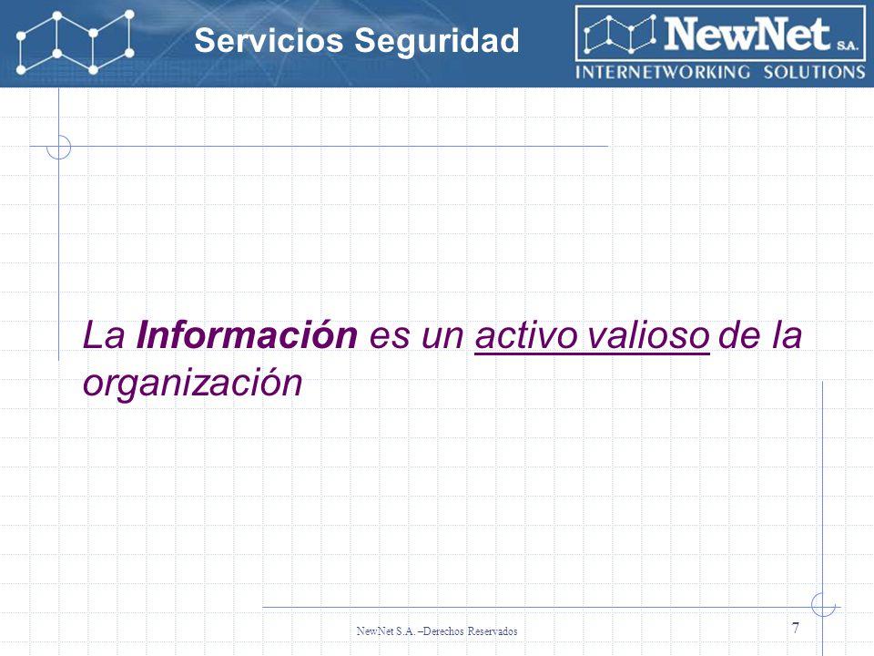 Servicios Seguridad NewNet S.A. –Derechos Reservados 7 La Información es un activo valioso de la organización