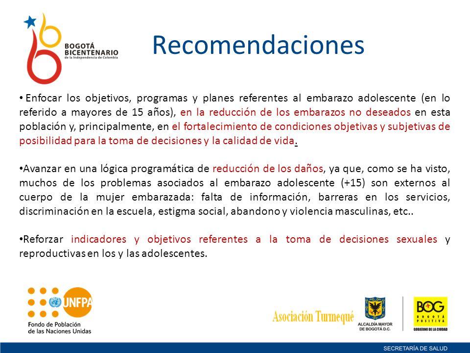 Recomendaciones Enfocar los objetivos, programas y planes referentes al embarazo adolescente (en lo referido a mayores de 15 años), en la reducción de
