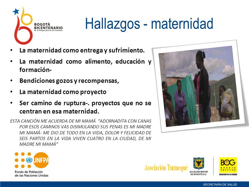 Hallazgos - maternidad La maternidad como entrega y sufrimiento. La maternidad como alimento, educación y formación- Bendiciones gozos y recompensas,