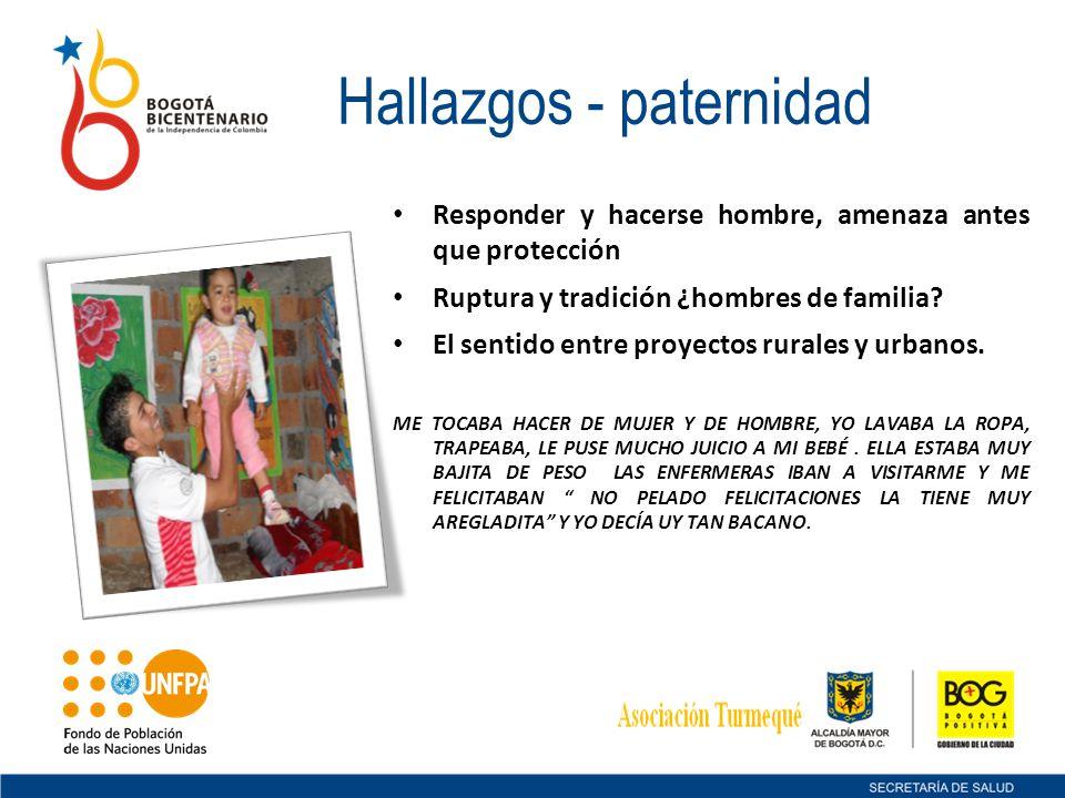 Hallazgos - paternidad Responder y hacerse hombre, amenaza antes que protección Ruptura y tradición ¿hombres de familia? El sentido entre proyectos ru