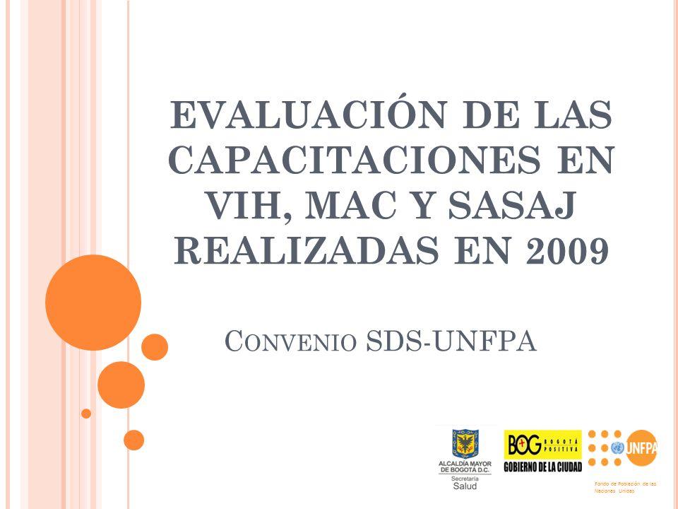 EVALUACIÓN DE LAS CAPACITACIONES EN VIH, MAC Y SASAJ REALIZADAS EN 2009 C ONVENIO SDS-UNFPA Fondo de Población de las Naciones Unidas