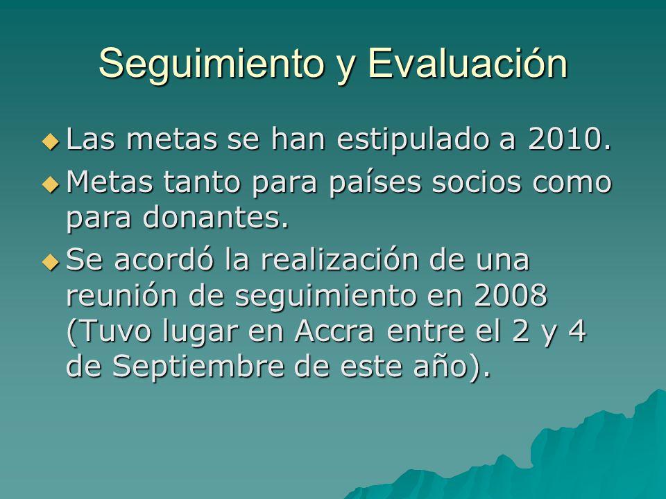 Seguimiento y Evaluación Las metas se han estipulado a 2010.