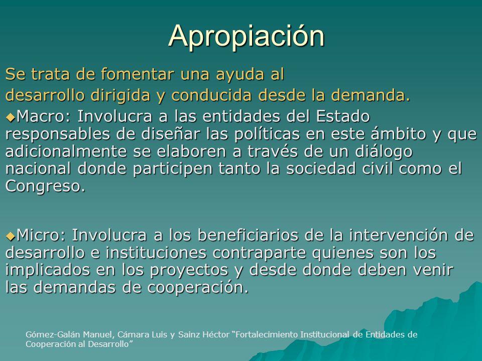 Apropiación Se trata de fomentar una ayuda al desarrollo dirigida y conducida desde la demanda.