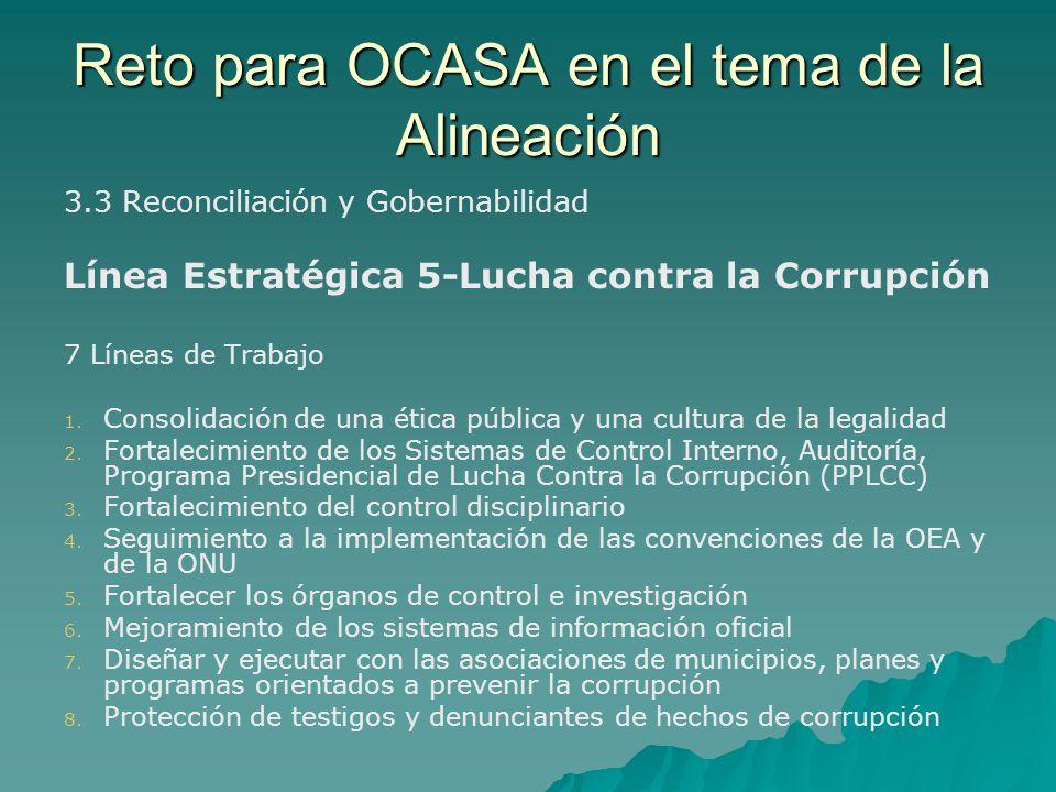 Reto para OCASA en el tema de la Alineación 3.3 Reconciliación y Gobernabilidad Línea Estratégica 5-Lucha contra la Corrupción 7 Líneas de Trabajo 1.