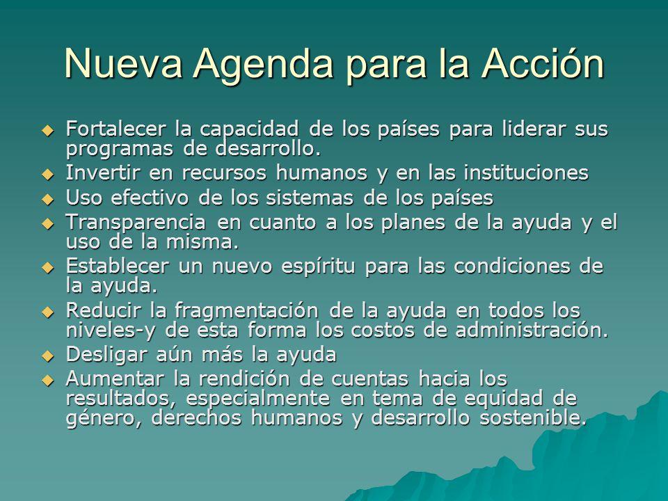 Nueva Agenda para la Acción Fortalecer la capacidad de los países para liderar sus programas de desarrollo.