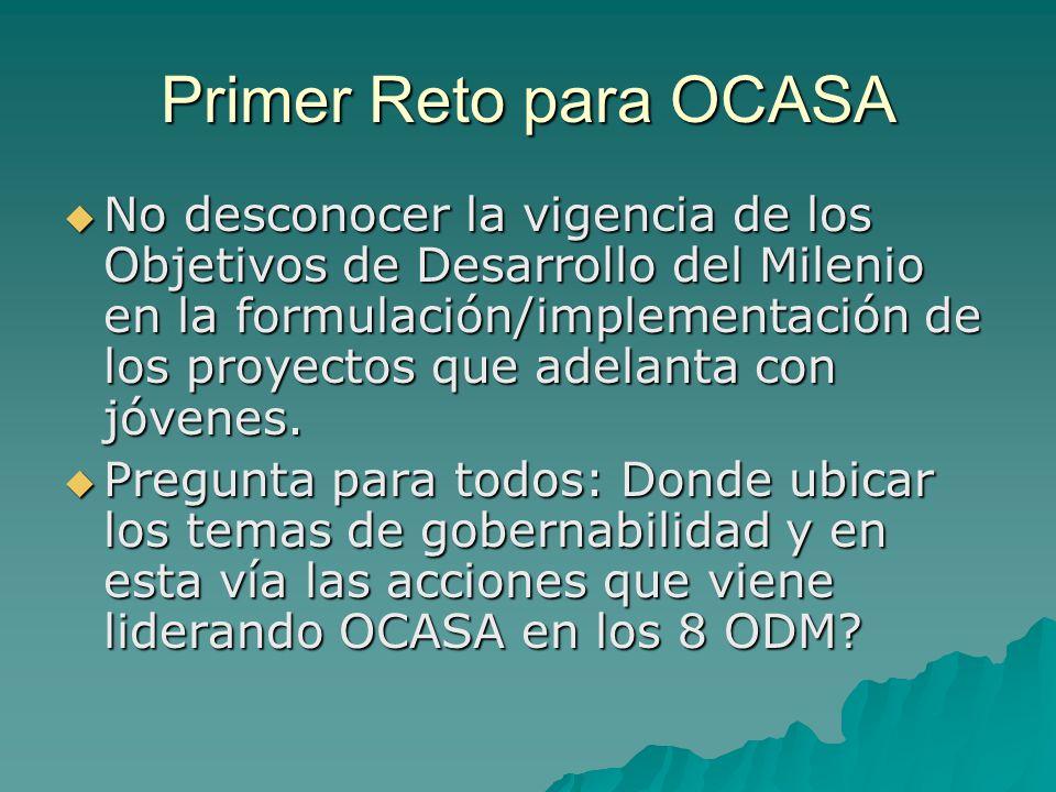 Primer Reto para OCASA No desconocer la vigencia de los Objetivos de Desarrollo del Milenio en la formulación/implementación de los proyectos que adelanta con jóvenes.