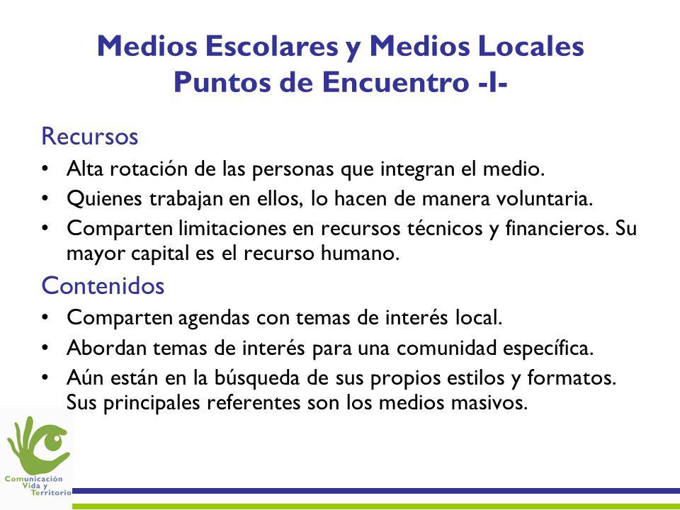 Medios Escolares y Medios Locales Puntos de Encuentro -I- Recursos Alta rotación de las personas que integran el medio. Quienes trabajan en ellos, lo