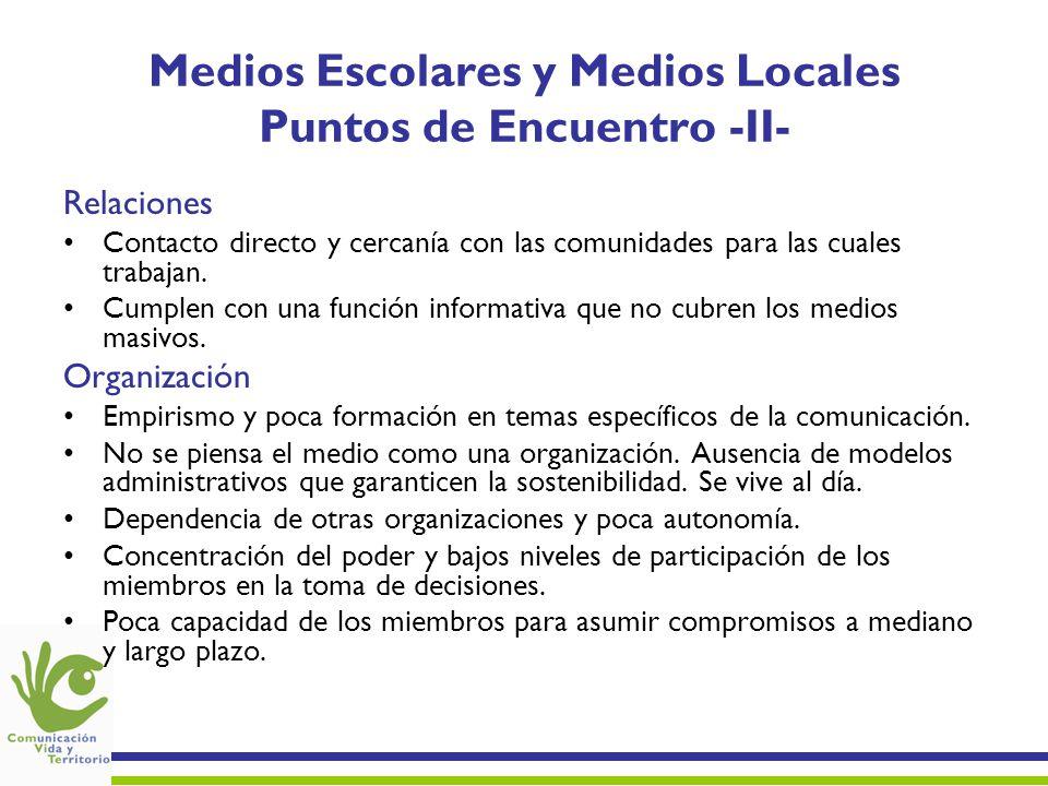Medios Escolares y Medios Locales Puntos de Encuentro -II- Relaciones Contacto directo y cercanía con las comunidades para las cuales trabajan. Cumple