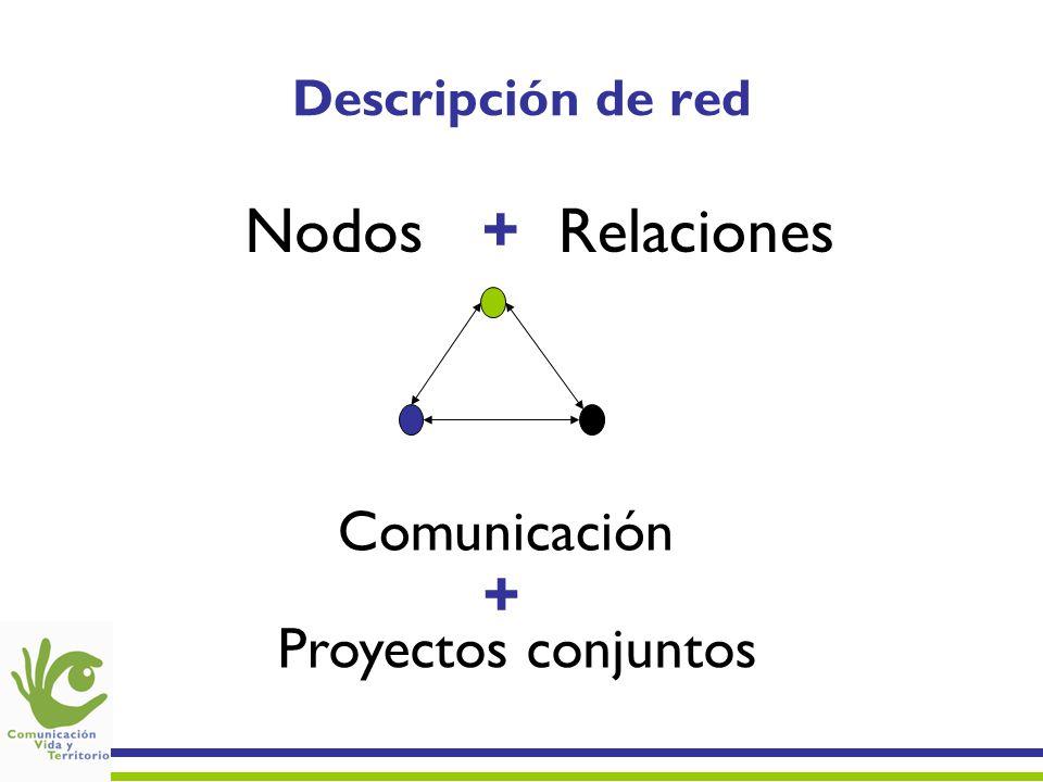 Descripción de red NodosRelaciones+ Comunicación Proyectos conjuntos +