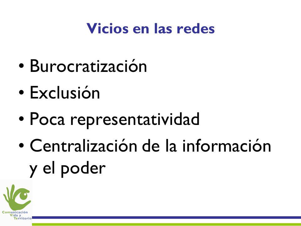 Vicios en las redes Burocratización Exclusión Poca representatividad Centralización de la información y el poder