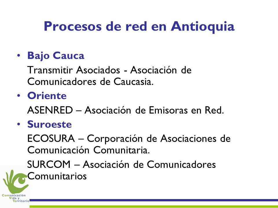 Procesos de red en Antioquia Bajo Cauca Transmitir Asociados - Asociación de Comunicadores de Caucasia.