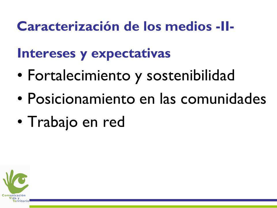 Caracterización de los medios -II- Intereses y expectativas Fortalecimiento y sostenibilidad Posicionamiento en las comunidades Trabajo en red