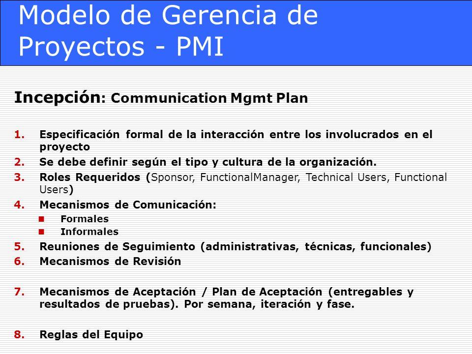 Modelo de Gerencia de Proyectos - PMI Incepción : Communication Mgmt Plan 1.Especificación formal de la interacción entre los involucrados en el proyecto 2.Se debe definir según el tipo y cultura de la organización.