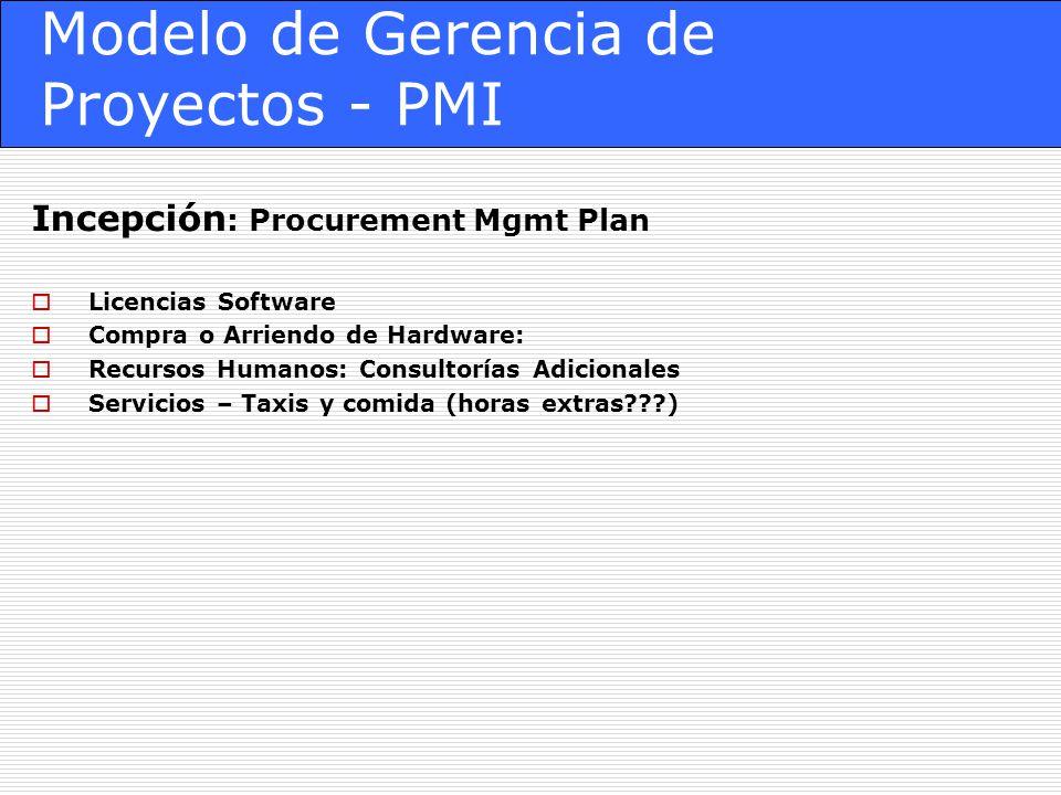 Modelo de Gerencia de Proyectos - PMI Incepción : Procurement Mgmt Plan Licencias Software Compra o Arriendo de Hardware: Recursos Humanos: Consultorías Adicionales Servicios – Taxis y comida (horas extras???)