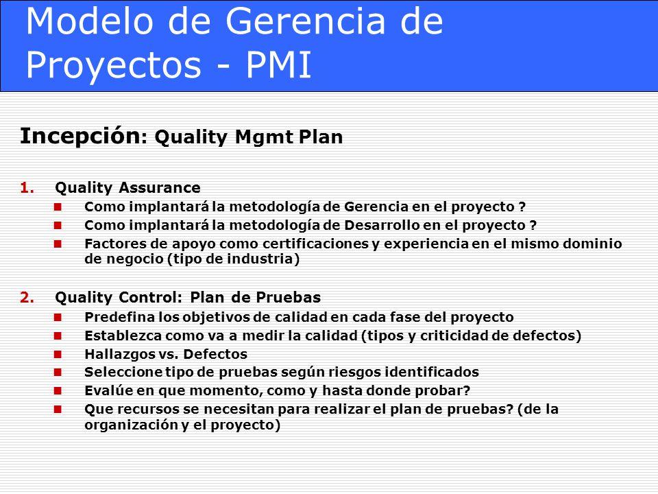 Modelo de Gerencia de Proyectos - PMI Incepción : Quality Mgmt Plan 1.Quality Assurance Como implantará la metodología de Gerencia en el proyecto .