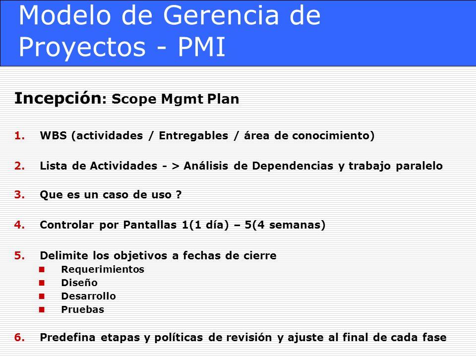 Modelo de Gerencia de Proyectos - PMI Incepción : Scope Mgmt Plan 1.WBS (actividades / Entregables / área de conocimiento) 2.Lista de Actividades - > Análisis de Dependencias y trabajo paralelo 3.Que es un caso de uso .