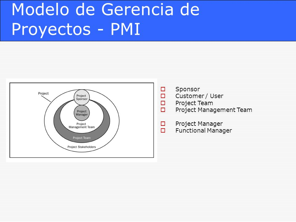 Modelo de Gerencia de Proyectos - PMI Sponsor Customer / User Project Team Project Management Team Project Manager Functional Manager
