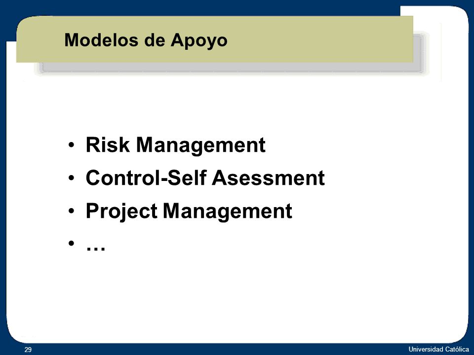 Universidad Católica 29 Risk Management Control-Self Asessment Project Management … Risk Management Control-Self Asessment Project Management … Modelo
