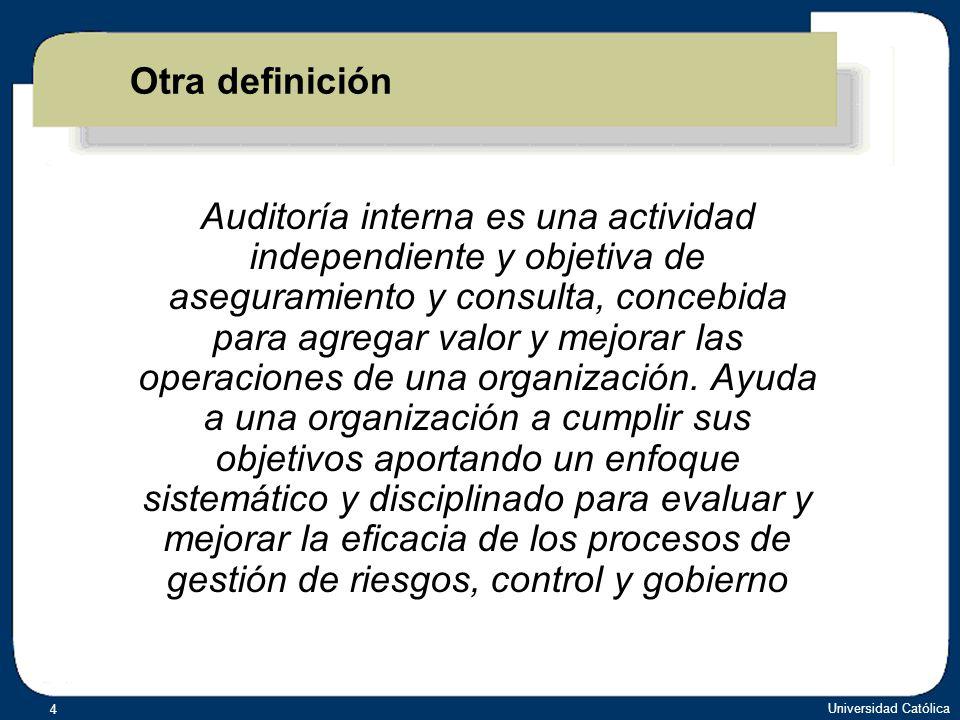 Universidad Católica 15 MONITOREO ACTIVIDADES DE CONTROL VALORACIÓN DE RIESGOS AMBIENTE DE CONTROL INFORMACIÓN Y COMUNICACIÓN COSO Componentes