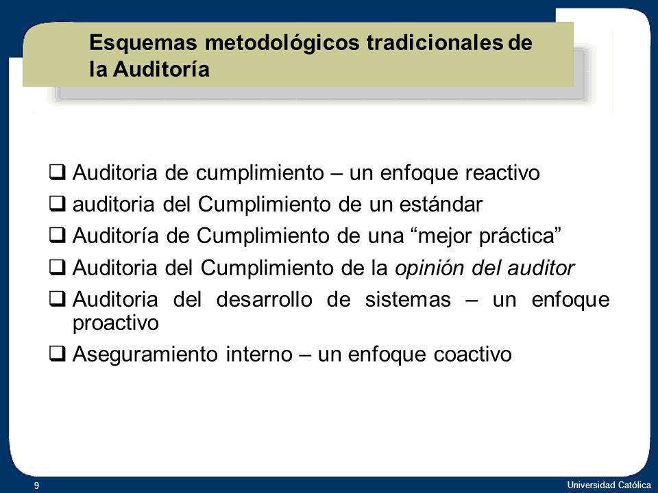 Universidad Católica 10 Modelos de Control Orientados a: Control gerencial Control Informático Apoyar los controles anteriores 02