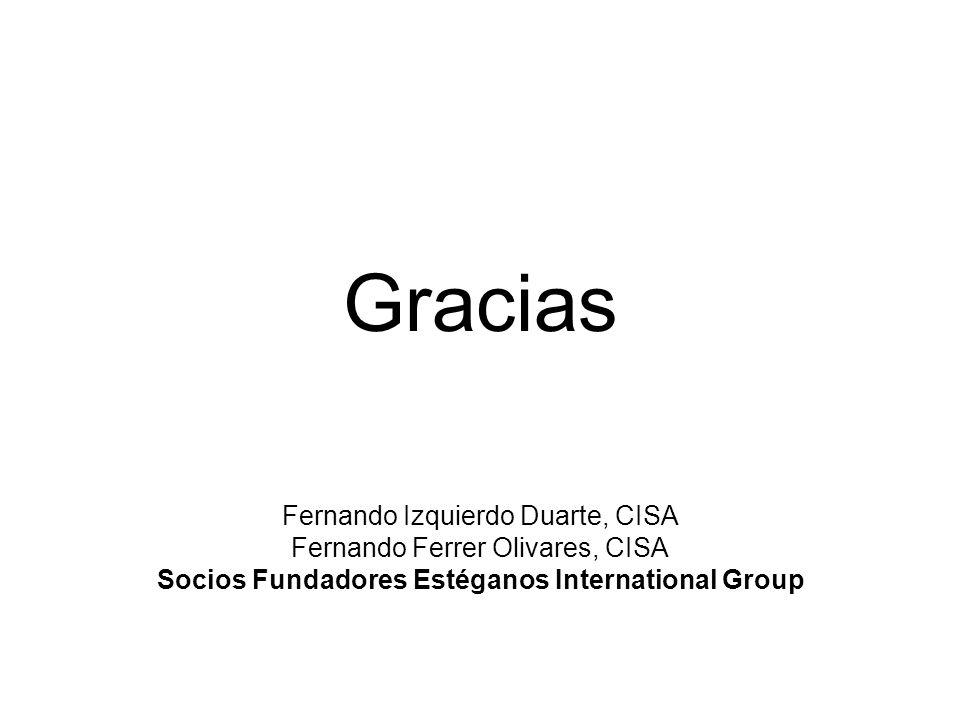 Gracias Fernando Izquierdo Duarte, CISA Fernando Ferrer Olivares, CISA Socios Fundadores Estéganos International Group