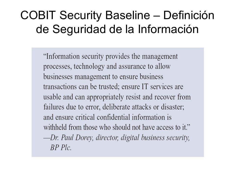 COBIT Security Baseline – Definición de Seguridad de la Información