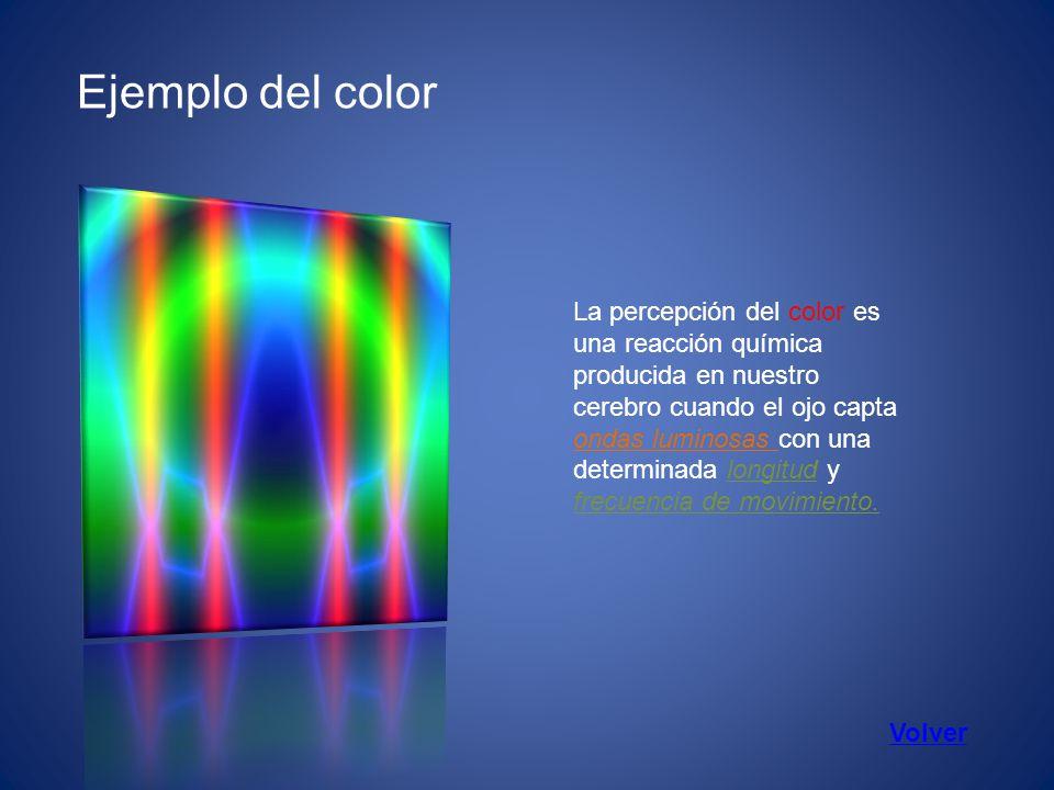 Ejemplo del color La percepción del color es una reacción química producida en nuestro cerebro cuando el ojo capta ondas luminosas con una determinada