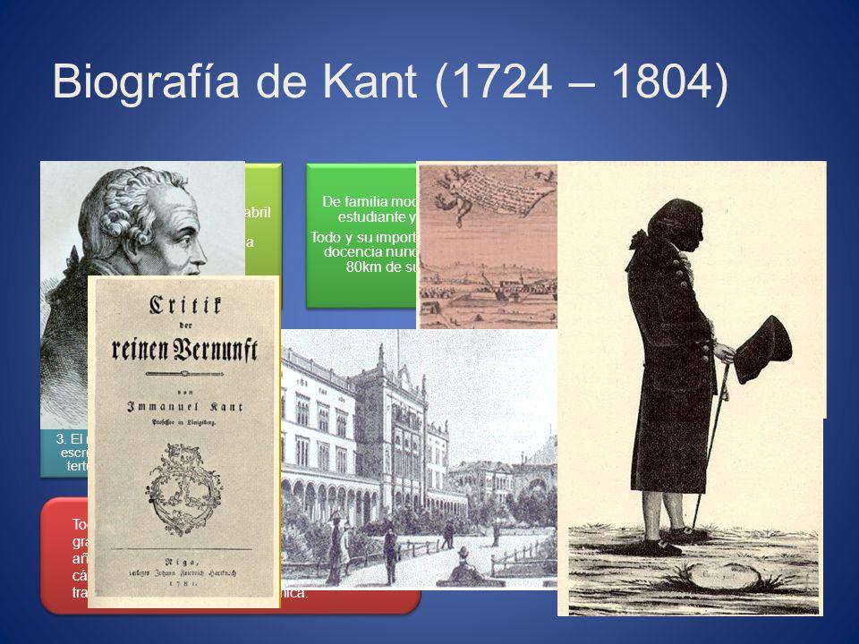 Biografía de Kant (1724 – 1804) Immanuel Kant nació el 22 de abril en la ciudad de Könisberg (actualmente perteneciente a Rússia). De familia modesta,