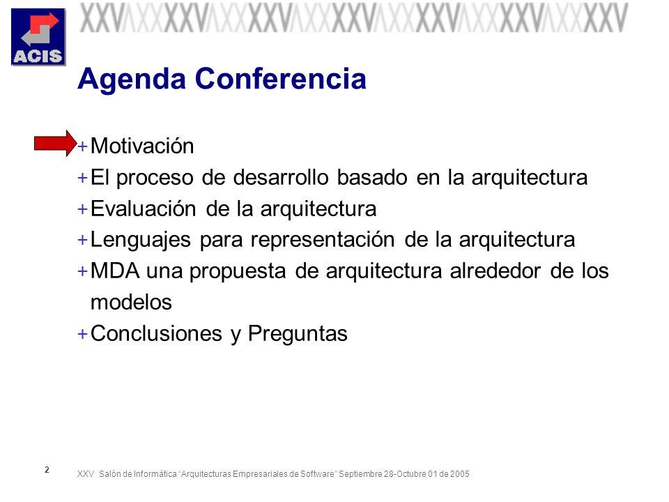 XXV Salón de Informática Arquitecturas Empresariales de Software Septiembre 28-Octubre 01 de 2005 13 Agenda Conferencia + Motivación + El proceso de desarrollo basado en la arquitectura + Evaluación de la arquitectura + Lenguajes para representación de la arquitectura + MDA una propuesta de arquitectura alrededor de los modelos + Conclusiones y Preguntas