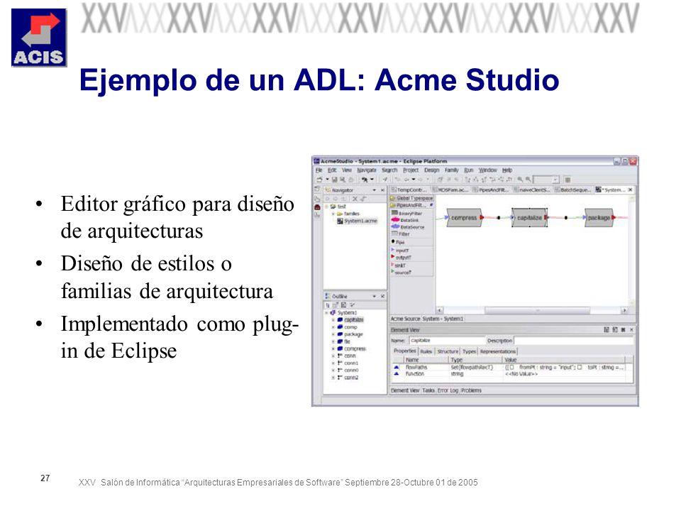 XXV Salón de Informática Arquitecturas Empresariales de Software Septiembre 28-Octubre 01 de 2005 27 Ejemplo de un ADL: Acme Studio Editor gráfico par