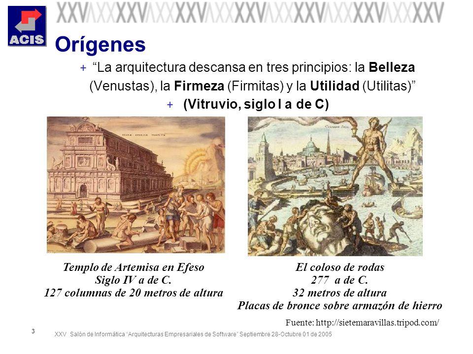 XXV Salón de Informática Arquitecturas Empresariales de Software Septiembre 28-Octubre 01 de 2005 3 Orígenes + La arquitectura descansa en tres princi