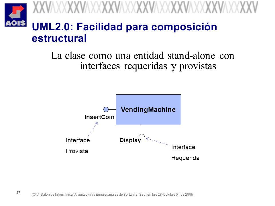 XXV Salón de Informática Arquitecturas Empresariales de Software Septiembre 28-Octubre 01 de 2005 37 UML2.0: Facilidad para composición estructural La
