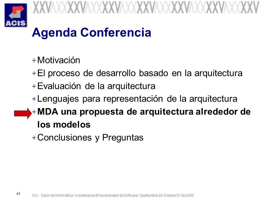 XXV Salón de Informática Arquitecturas Empresariales de Software Septiembre 28-Octubre 01 de 2005 41 Agenda Conferencia + Motivación + El proceso de d