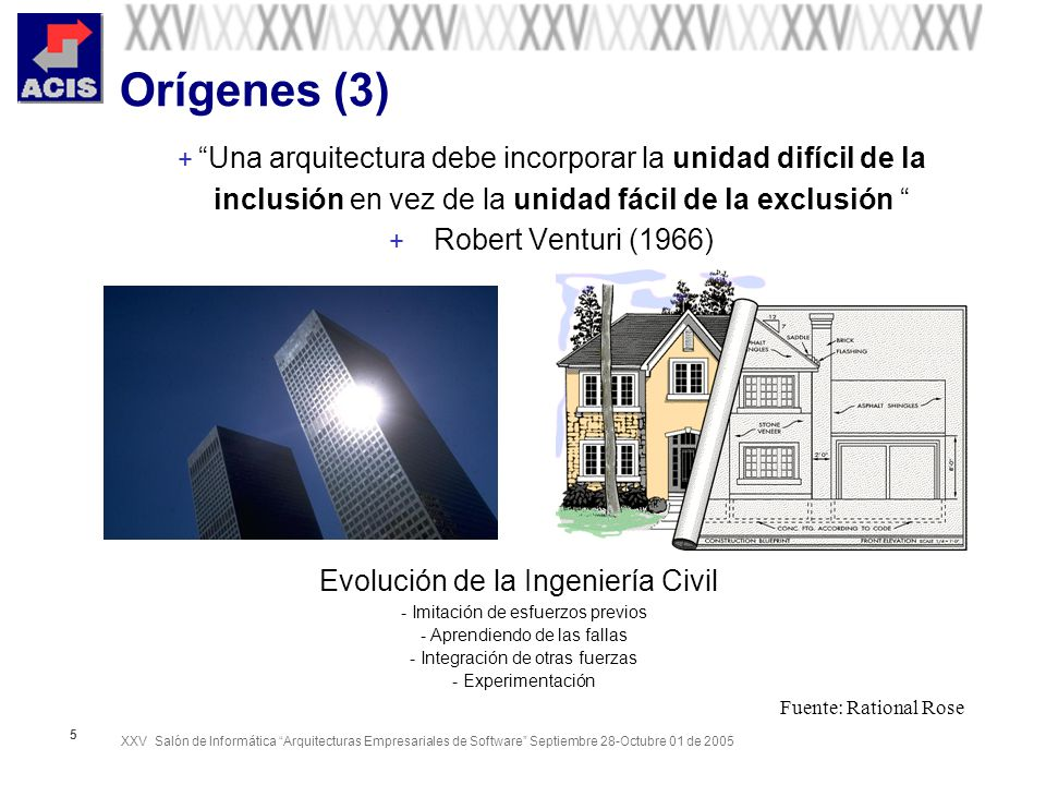 XXV Salón de Informática Arquitecturas Empresariales de Software Septiembre 28-Octubre 01 de 2005 26 Principales lenguajes ADL + ACME: Architectural interchange, predominantly at the structural level + Aesop: Specification of architectures in specific styles + C2: Architectures of highly-distributed, evolvable, and dynamic systems + Darwin: Architectures of highly-distributed systems whose dynamism is guided by strict formal underpinnings + MetaH: Architectures in the guidance, navigation, and control (GN&C) domain + Rapide: Modelling and simulation of the dynamic behaviour described by an architecture + SADL: Formal refinement of architectures across levels of detail + UniCon: Glue code generation for interconnecting existing components using common interaction protocols + Weaves: Data-flow architectures, characterized by high volume of data and real-time requirements on its processing + Wright: Modelling and analysis (specifically, deadlock analysis) of the dynamic behaviour of concurrent systemsx + XADL: Extensible XML-based ADL based on xArch