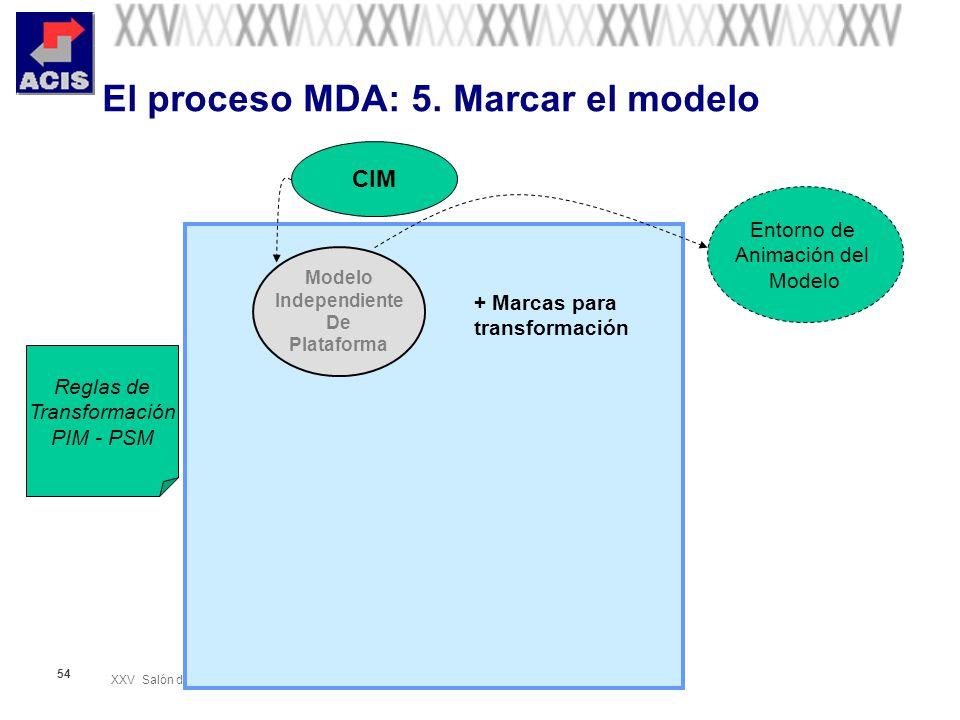 XXV Salón de Informática Arquitecturas Empresariales de Software Septiembre 28-Octubre 01 de 2005 54 El proceso MDA: 5. Marcar el modelo Modelo Indepe