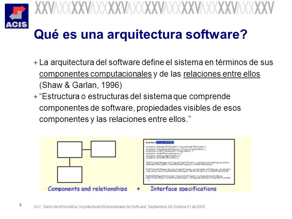 XXV Salón de Informática Arquitecturas Empresariales de Software Septiembre 28-Octubre 01 de 2005 7 Arquitectura: Pensar primero en lo importante Diseño de alto nivel versus diseño detallado (David Budgen) Esqueleto versus Carne y Músculos (Rational Unify Process)