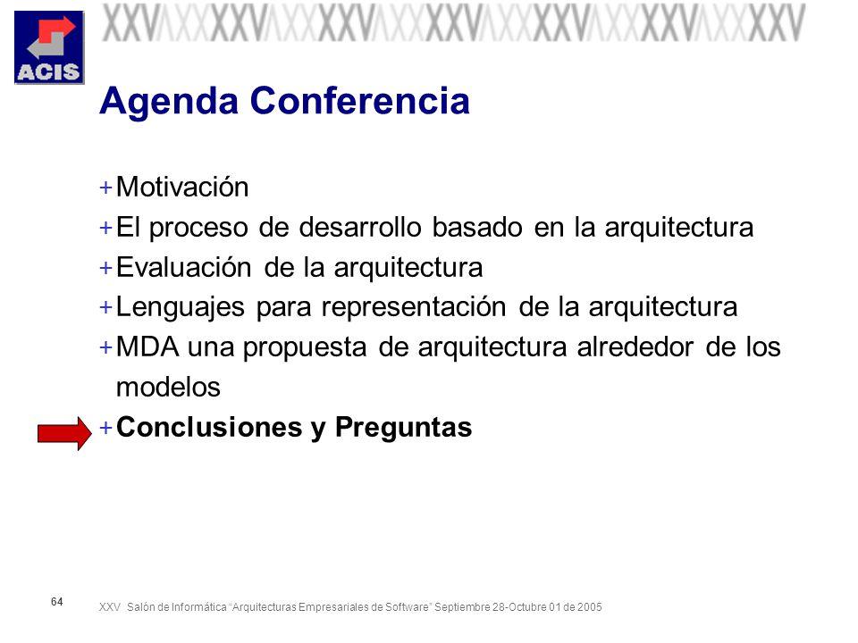 XXV Salón de Informática Arquitecturas Empresariales de Software Septiembre 28-Octubre 01 de 2005 64 Agenda Conferencia + Motivación + El proceso de d
