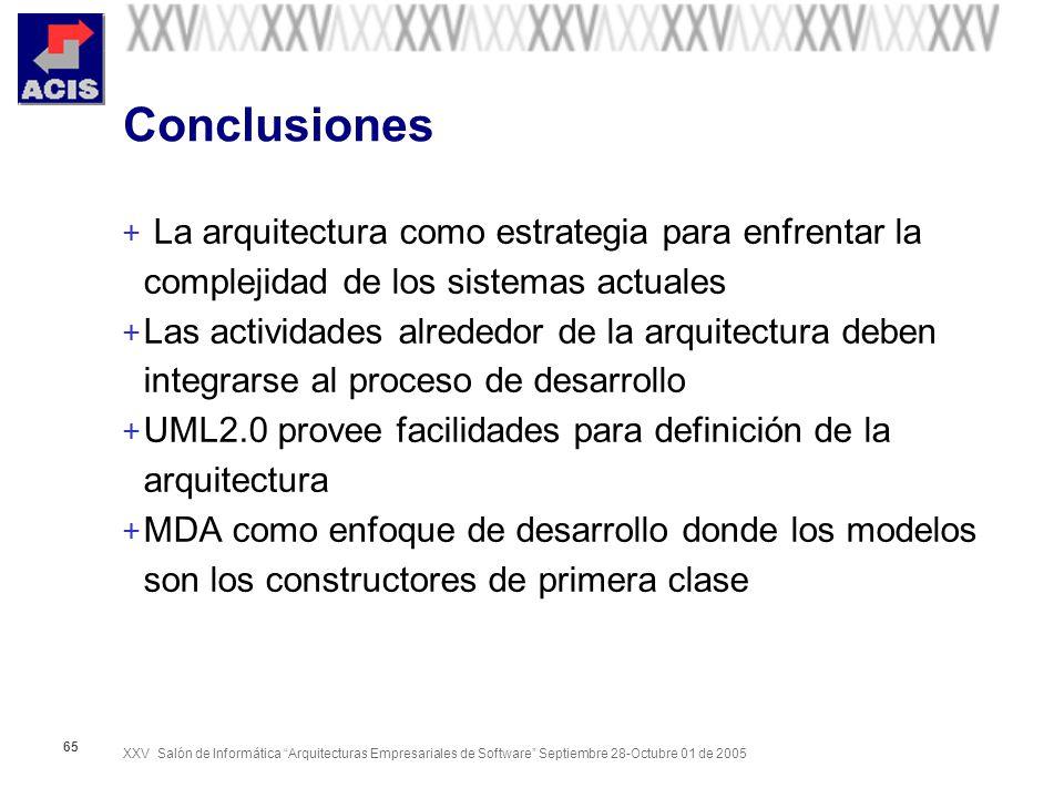 XXV Salón de Informática Arquitecturas Empresariales de Software Septiembre 28-Octubre 01 de 2005 65 Conclusiones + La arquitectura como estrategia pa