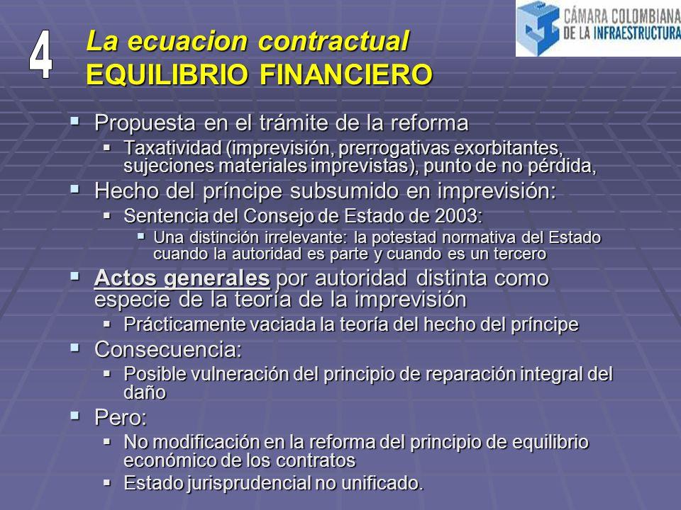 La ecuacion contractual EQUILIBRIO FINANCIERO Propuesta en el trámite de la reforma Propuesta en el trámite de la reforma Taxatividad (imprevisión, pr