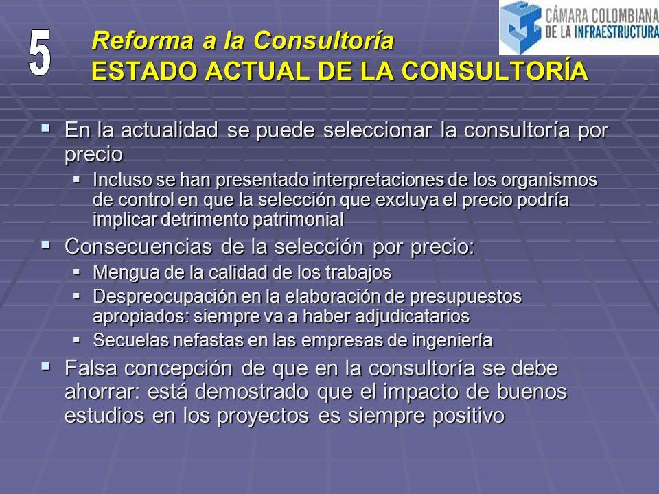 Reforma a la Consultoría ESTADO ACTUAL DE LA CONSULTORÍA En la actualidad se puede seleccionar la consultoría por precio En la actualidad se puede sel