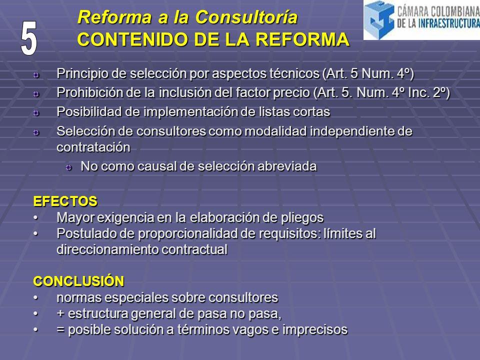 Reforma a la Consultoría CONTENIDO DE LA REFORMA Principio de selección por aspectos técnicos (Art. 5 Num. 4º) Prohibición de la inclusión del factor