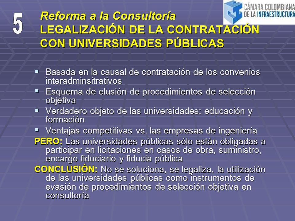 Reforma a la Consultoría LEGALIZACIÓN DE LA CONTRATACIÓN CON UNIVERSIDADES PÚBLICAS Basada en la causal de contratación de los convenios interadminsit