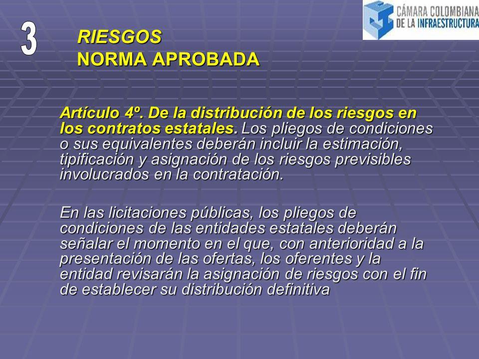 RIESGOS NORMA APROBADA Artículo 4º. De la distribución de los riesgos en los contratos estatales. Los pliegos de condiciones o sus equivalentes deberá