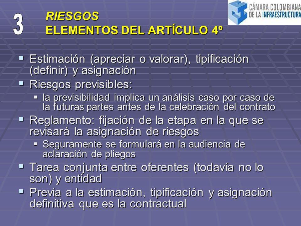 RIESGOS ELEMENTOS DEL ARTÍCULO 4º Estimación (apreciar o valorar), tipificación (definir) y asignación Estimación (apreciar o valorar), tipificación (definir) y asignación Riesgos previsibles: Riesgos previsibles: la previsibilidad implica un análisis caso por caso de la futuras partes antes de la celebración del contrato la previsibilidad implica un análisis caso por caso de la futuras partes antes de la celebración del contrato Reglamento: fijación de la etapa en la que se revisará la asignación de riesgos Reglamento: fijación de la etapa en la que se revisará la asignación de riesgos Seguramente se formulará en la audiencia de aclaración de pliegos Seguramente se formulará en la audiencia de aclaración de pliegos Tarea conjunta entre oferentes (todavía no lo son) y entidad Tarea conjunta entre oferentes (todavía no lo son) y entidad Previa a la estimación, tipificación y asignación definitiva que es la contractual Previa a la estimación, tipificación y asignación definitiva que es la contractual