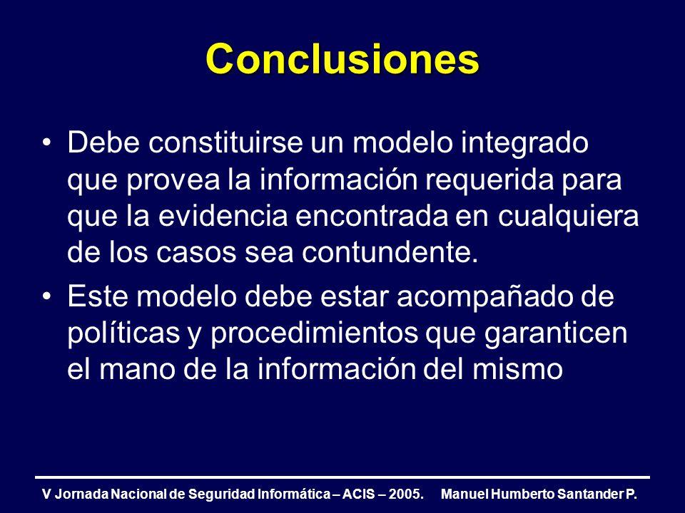 Conclusiones V Jornada Nacional de Seguridad Informática – ACIS – 2005. Manuel Humberto Santander P. Debe constituirse un modelo integrado que provea