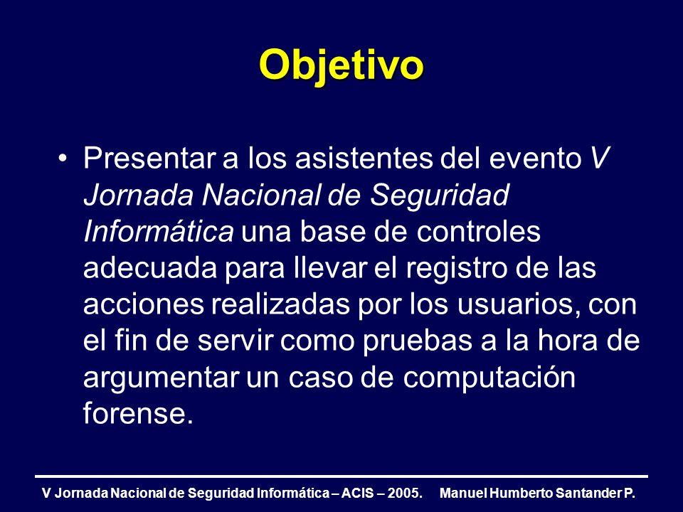 Agenda Introducción Proceso de atención de incidentes de Seguridad Factores críticos de éxito Línea base de controles propuesta Conclusiones V Jornada Nacional de Seguridad Informática – ACIS – 2005.